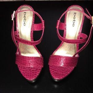 bebe Pink Snakeskin Wood Platform Heels 6